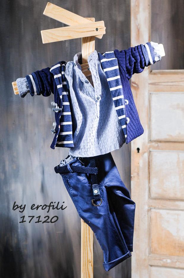 Βαφτιστικό κοστούμι με μπλε παντελόνι πουκαμίσα και ζακέτα ριγέ 17120
