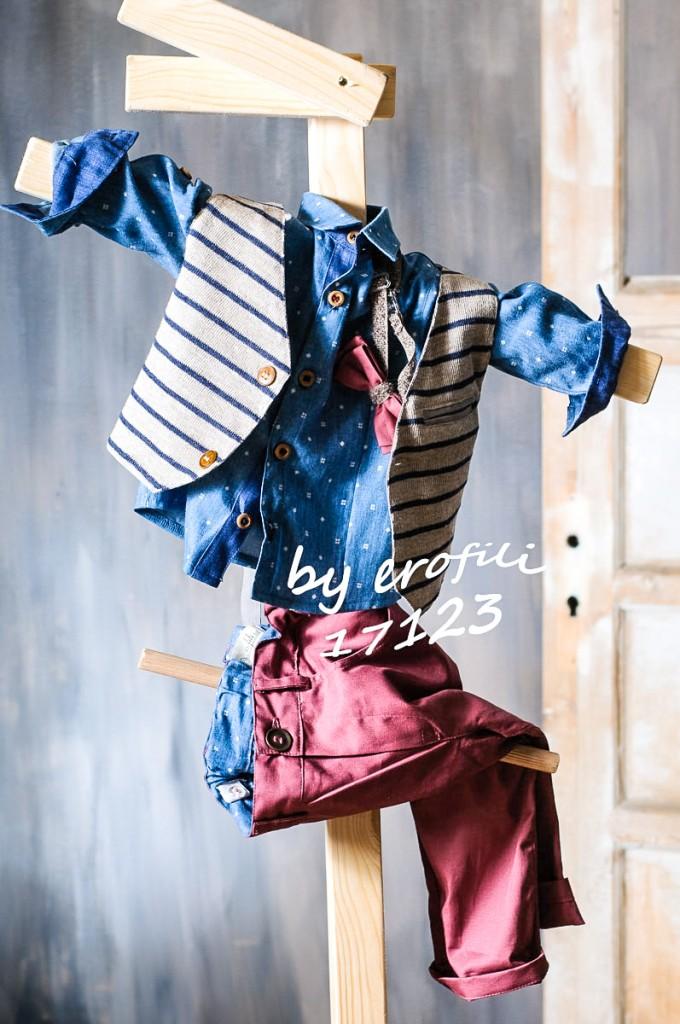"""Χειροποίητο βαφτιστικό σετ για αγόρι 17123 από την σειρά """"boys collection spring summer 2017"""" του οίκου Ερωφίλη. Βαπτιστικό κουστούμι για αγόρι αποτελούμενο από βαμβακερό μπορντό παντελόνι, βαμβακερό μπλε πουκάμισο και ριγέ γιλέκο διακοσμημένο με παπιγιόν. Το σετ περιλαμβάνει καβουράκι η τραγιάσκα στις ίδιες αποχρώσεις."""