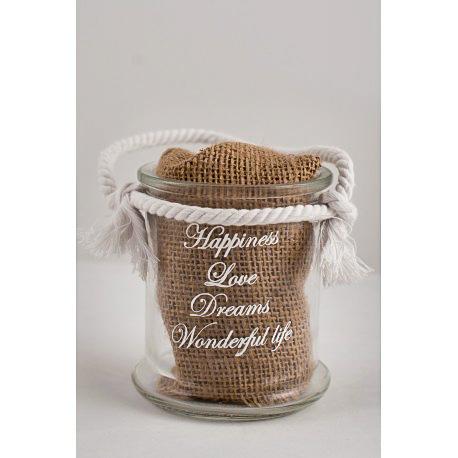 Χειροποίητη βαπτιστική μπουμπουνιέρα γυάλινο μπουκάλι με αγγλικές ευχές και χοντρό λευκό σχοινί