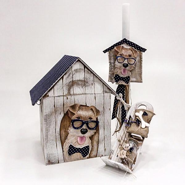 """Ξύλινο βαπτιστικό κουτί """"my best friend"""" by elena manakou  Χειροποίητο ξύλινο κουτί βάπτισης σπιτάκι με θέμα """"my best friend"""" ζωγραφισμένο στο χέρι και διακοσμημένο με πουά μπλε ύφασμα συνδυάζεται με τη λαμπάδα, το λαδοσετ (μπουκαλάκι, σαπουνάκι και 3 μικρά κεράκια) όλα στο ίδιο ύφος με το κουτί."""