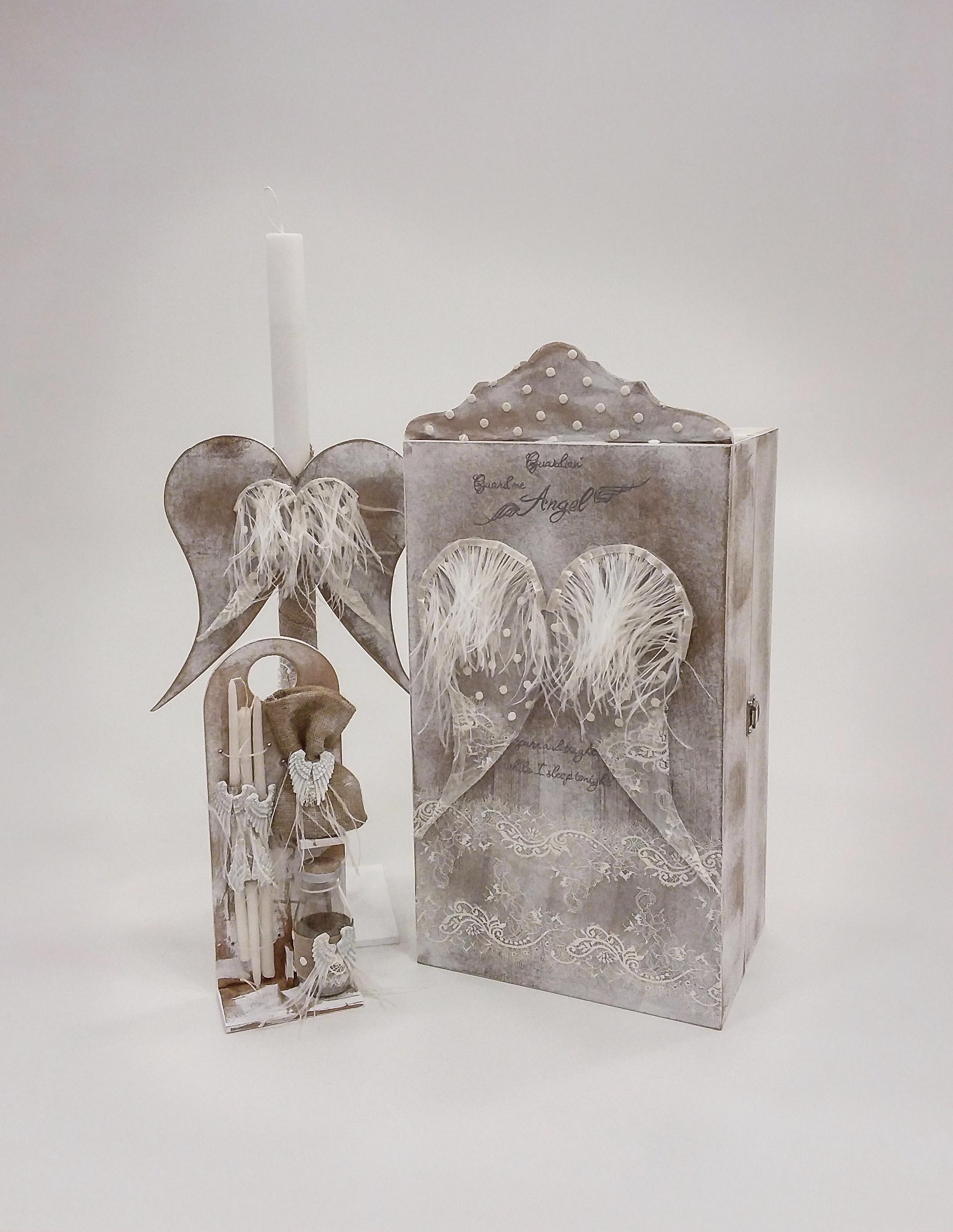 """Βαπτιστικό κουτί για κορίτσι """"Guardian Angel"""" by Elena Manakou  Χειροποίητο κουτί βάπτισης ντουλάπα """"Guardian Angel"""", με θήκες εσωτερικά για το ρούχο και τα αξεσουάρ βάπτισης, όλο ζωγραφισμένο στο χέρι και διακοσμημένο με δαντέλες τούλια και φτερά . Συνδυάζεται με την λαμπάδα και το λαδοσετ."""
