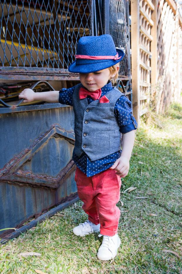 Bambolino βαπτιστικό σετ για αγόρι σε χρώμα μπλε και κόκκινο
