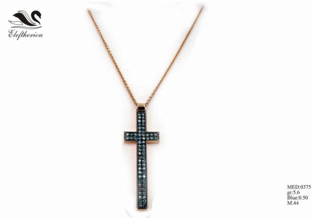Βαπτιστικός σταυρός 15 για κορίτσι σε ροζ χρυσό με μπλε μπριγιάν 50 εκατοστών του καρατίου