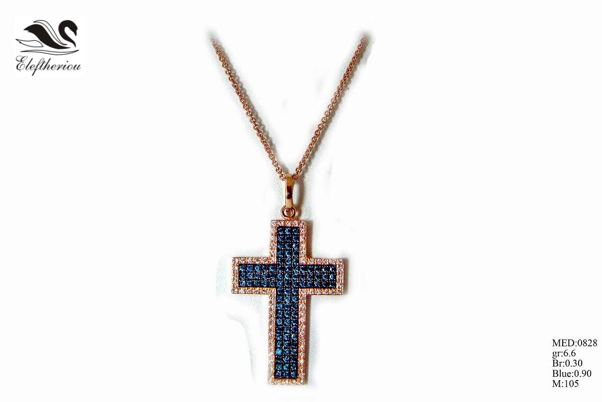 Βαπτιστικός σταυρός για κορίτσι 6,6 γραμμαρίων σε ροζ χρυσό με λευκά μπριγιάν 30 εκατοστών του καρατίου (περιμετρικά τοποθετημένα) και μπλε μπριγιάν 90 εκατοστών του καρατίου, ένας σταυρός με μεγάλη προσοχή στη λεπτομέρεια δεσίματος των μπριγιάν.