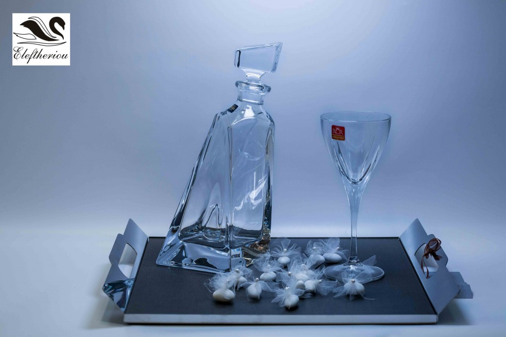 Δίσκος γάμου καθρέπτης επάργυρος set με κρυστάλλινη καράφα και ποτήρια σαμπάνιας