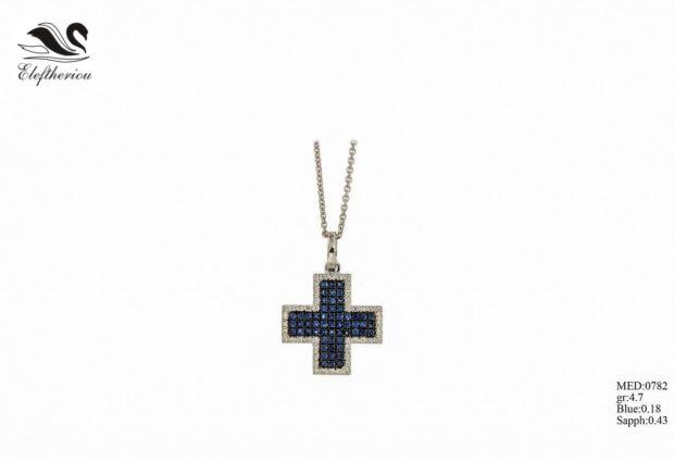Βαπτιστικός σταυρός 06 για κορίτσι σε χρυσό με λευκά και μπλε μπριγιάν