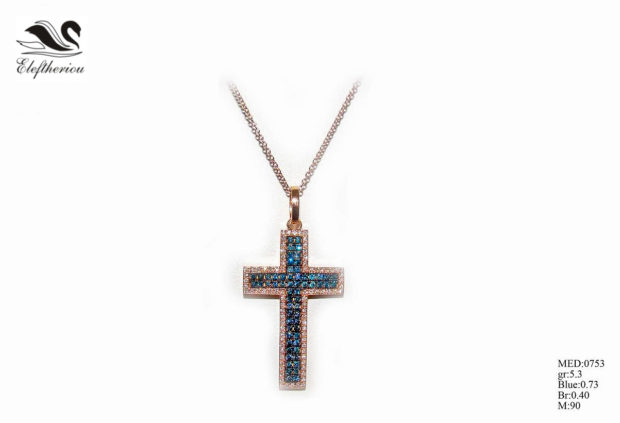 Βαπτιστικός σταυρός 08 για κορίτσι σε ροζ χρυσό με λευκά και μπλε μπριγιάν