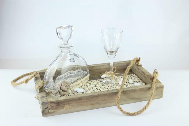 Δίσκος κουμπάρου από ξύλο θαλάσσης πρώτης ποιότητας συνοδευόμενος από καράφα και ποτήρι από κρύσταλλο Βοημίας (100) NEDI X 003
