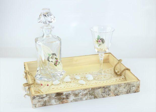 Δίσκος κουμπάρου από ξύλο θαλάσσης πρώτης ποιότητας συνοδευόμενος από καράφα και ποτήρι από κρύσταλλο Βοημίας (100) NEDI X 004
