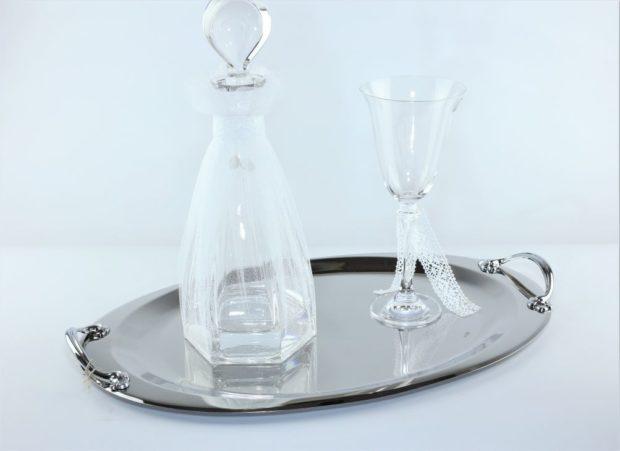 Δίσκος κουμπάρου από ίνοξ συνοδευόμενος από καράφα και ποτήρι από κρύσταλλο Βοημίας (130) NEDI 019