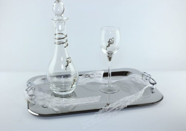 Δίσκος κουμπάρου από ίνοξ συνοδευόμενος από καράφα και ποτήρι από κρύσταλλο Βοημίας (140) NEDI 021