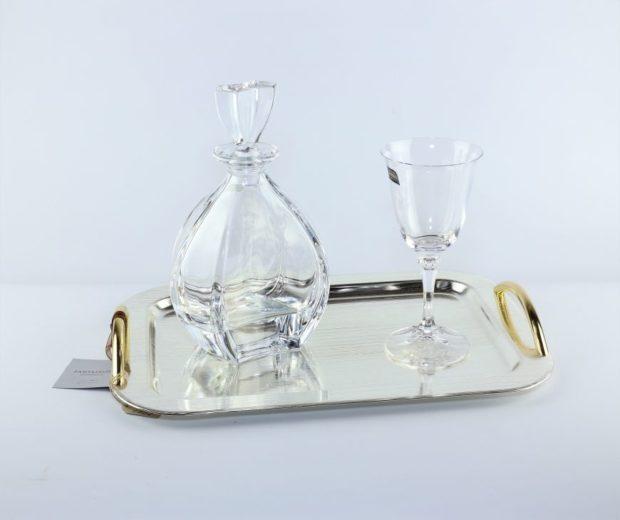 Δίσκος κουμπάρου από ίνοξ συνοδευόμενος από καράφα και ποτήρι από κρύσταλλο Βοημίας (150) NEDI 022