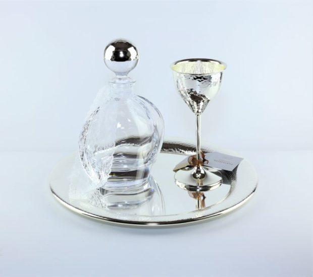 Δίσκος κουμπάρου από ίνοξ συνοδευόμενος από καράφα και ποτήρι από κρύσταλλο Βοημίας (170) NEDI 026