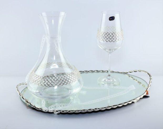 Δίσκος κουμπάρου από ίνοξ συνοδευόμενος από καράφα και ποτήρι από κρύσταλλο Βοημίας (180) NEDI 027