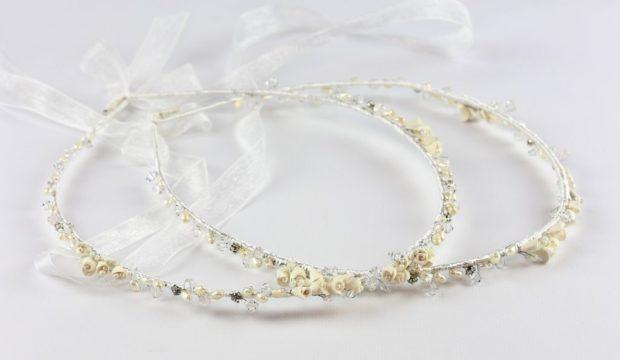 Ρομαντικά Στέφανα Γάμου από πορσελάνινα λουλούδια πέρλες συνδυασμένα με πέτρες Swarovski σε πολυτελή θήκη (100) NESTP 008