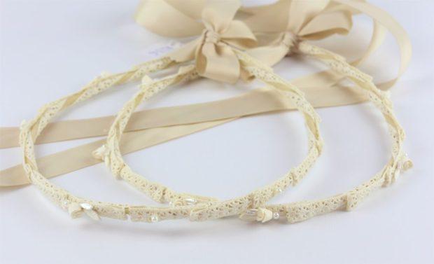 Ρομαντικά Στέφανα Γάμου από πορσελάνινα λουλούδια πέρλες συνδυασμένα με πέτρες Swarovski σε πολυτελή θήκη (70) NESTP 001