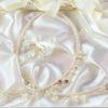 Ρομαντικά Στέφανα Γάμου από πορσελάνινα λουλούδια πέρλες συνδυασμένα με πέτρες Swarovski σε πολυτελή θήκη (80) NESTP 003