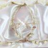 Ρομαντικά Στέφανα Γάμου από πορσελάνινα λουλούδια πέρλες συνδυασμένα με πέτρες Swarovski σε πολυτελή θήκη (80) NESTP 004