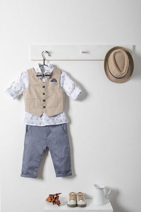 Βαπτιστικό ρούχο σετ για αγόρι με μπεζ γιλέκο_NEVRAMP_007