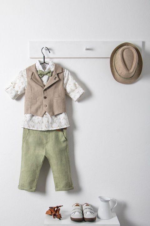 Βαπτιστικό ρούχο σετ για αγόρι με μπεζ γιλέκο και παπιγιόν_NEVRAMP_009