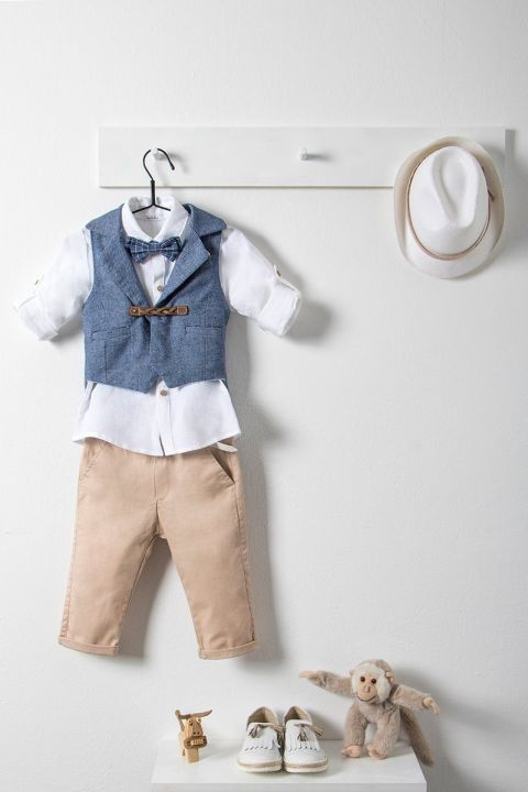 Βαπτιστικό ρούχο σετ για αγόρι με μπλε γιλέκο_NEVRAMP_011