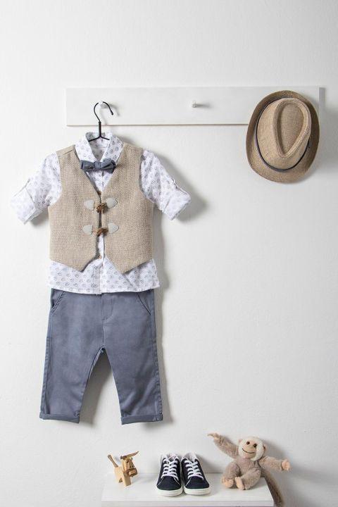 Βαπτιστικό ρούχο σετ για αγόρι με μπεζ γιλέκο_NEVRAMP_014