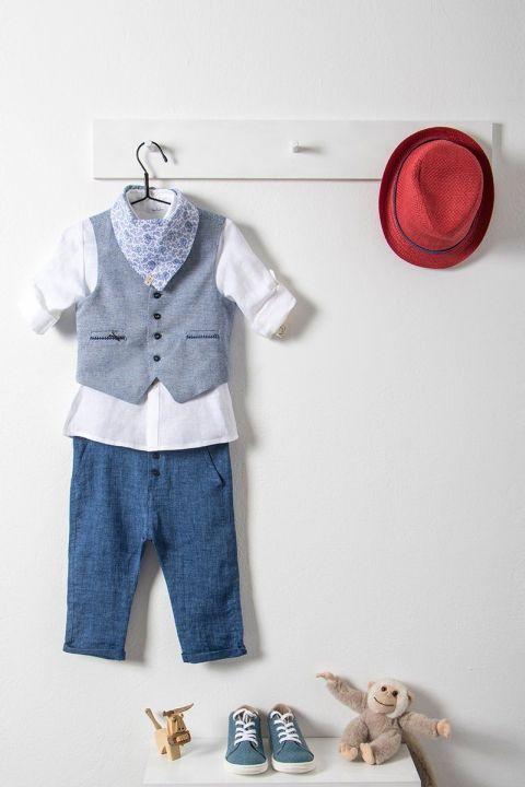 Βαπτιστικό ρούχο σετ για αγόρι με γκρι γιλέκο_NEVRAMP_015