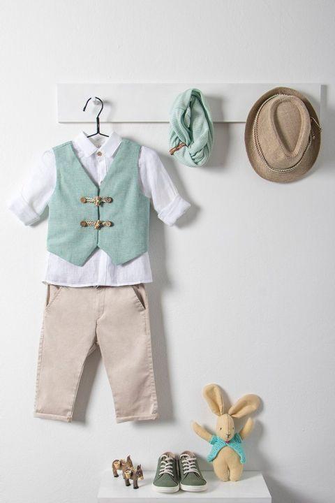 Βαπτιστικό ρούχο σετ για αγόρι με γαλάζιο γιλέκο_NEVRAMP_019