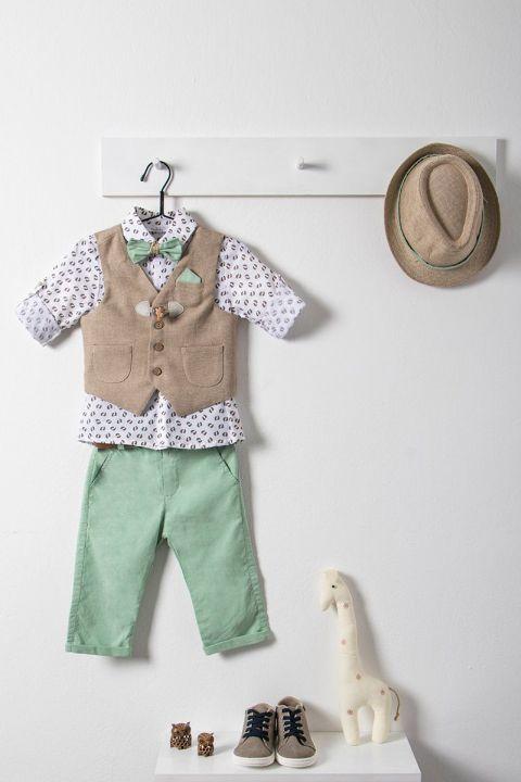 Βαπτιστικό ρούχο σετ για αγόρι με καφέ γιλέκο_NEVRAMP_020