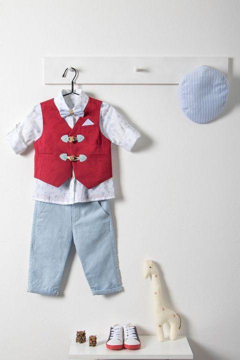 Βαπτιστικό ρούχο σετ για αγόρι με κόκκινο γιλέκο και τραγιάσκα_NEVRAMP_023