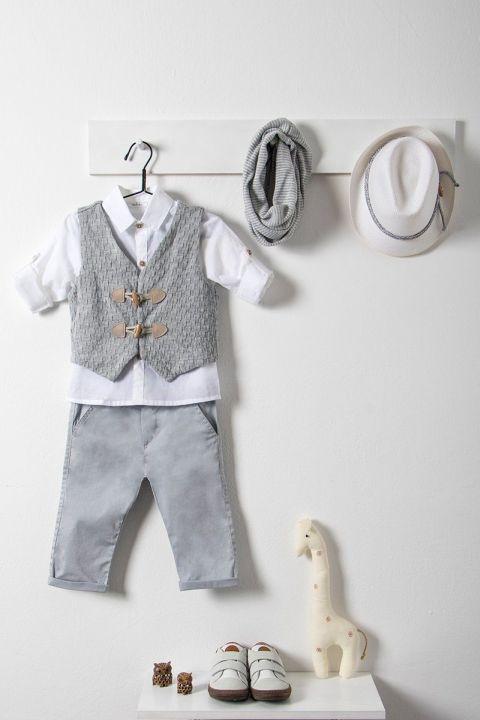 Βαπτιστικό ρούχο σετ για αγόρι με γκρι γιλέκο_NEVRAMP_025