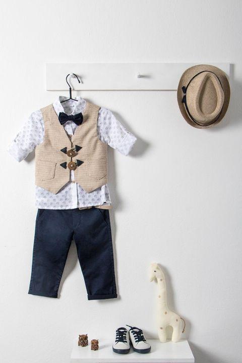 Βαπτιστικό ρούχο σετ για αγόρι με μπεζ γιλέκο_NEVRAMP_029