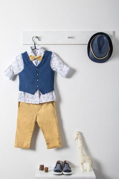 Βαπτιστικό ρούχο σετ για αγόρι με μπλε γιλέκο_NEVRAMP_030