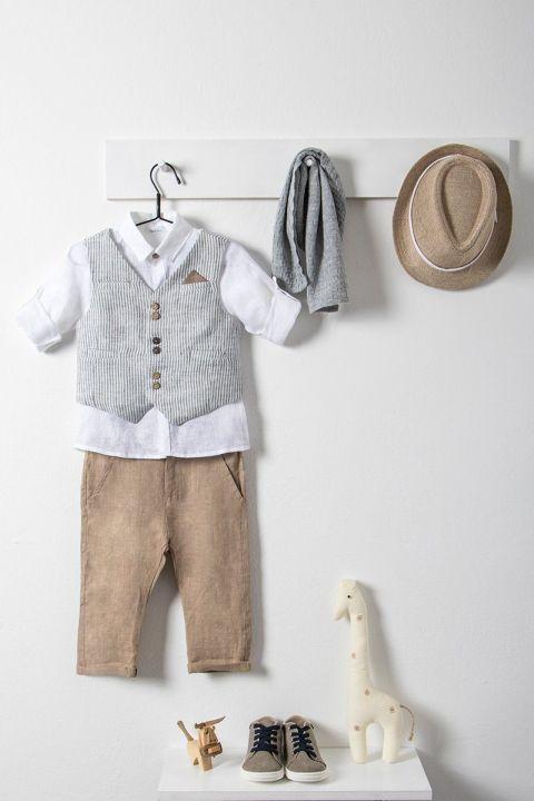 Βαπτιστικό ρούχο σετ για αγόρι με γκρι γιλέκο και φουλάρι_NEVRAMP_037