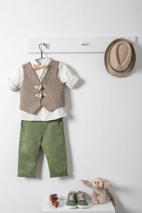 Βαπτιστικό ρούχο σετ για αγόρι με καφέ γιλέκο_NEVRAMP_043