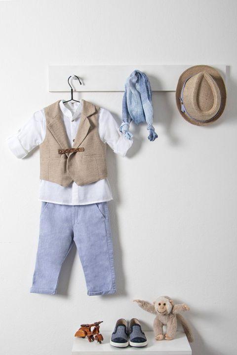 Βαπτιστικό ρούχο σετ για αγόρι με καφέ γιλέκο_NEVRAMP_044