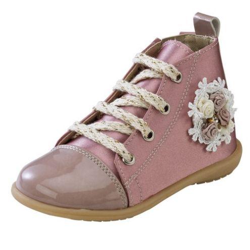 Ροζ μποτάκι παπούτσι βάπτισης για κορίτσι_NEVKP_007