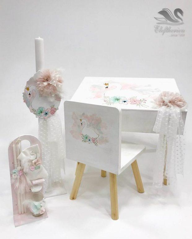 Κουτί βάπτισης για κορίτσι τραπεζάκι με καρέκλα NEKVKMN_018