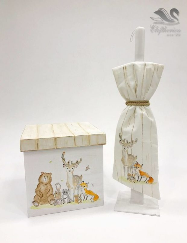 Κουτί βάπτισης με παραστάσεις με ζωάκια για κορίτσι NEKVKMN_030