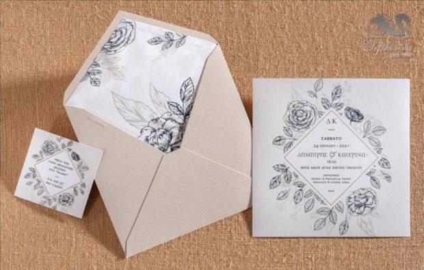 Γαμήλια προσκλητήρια με σχέδια από λουλούδια Προσκλητήρια γάμου σε υπέροχα μοναδικά σχέδια διαχρονικής ποιότητας_NEPRGA_012