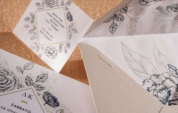 Γαμήλια προσκλητήρια με μοτίβα λουλουδίων Προσκλητήρια γάμου σε υπέροχα μοναδικά σχέδια διαχρονικής ποιότητας_NEPRGA_013