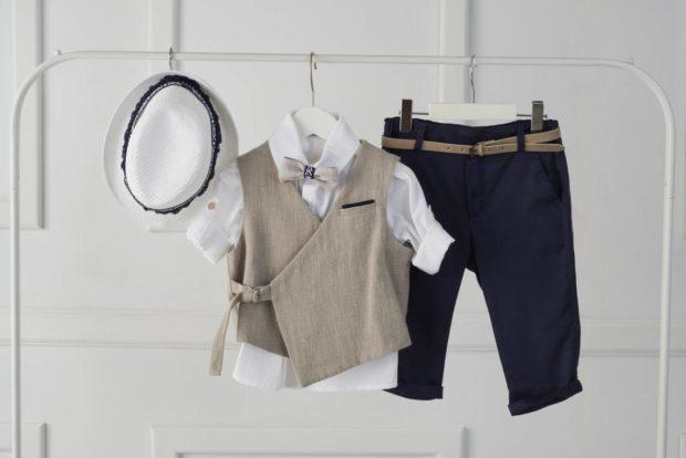 Βαπτιστικό Ρούχο Για Αγόρι και καπέλο μπλε λευκό γκρι