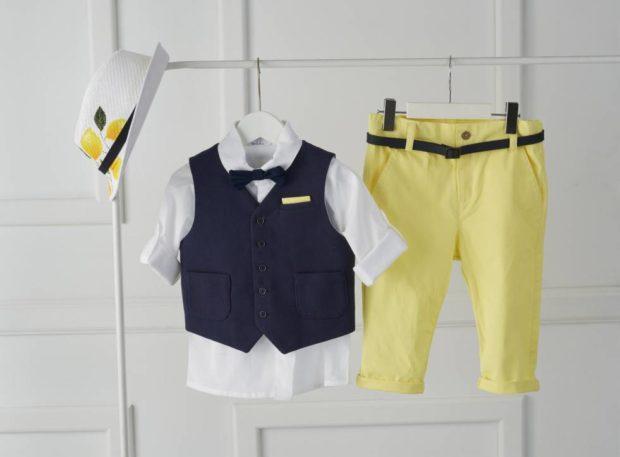 Βαπτιστικό Ρούχο Για Αγόρι και καπέλο με σχέδιο λεμονιά