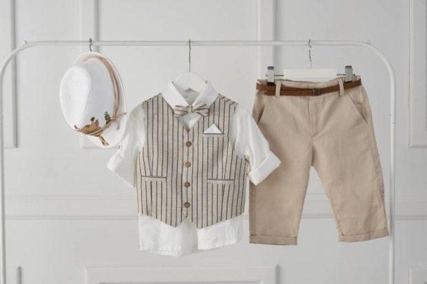 Βαπτιστικό Ρούχο Για Αγόρι και καπέλο με σχέδιο καμηλοπάρδαλη