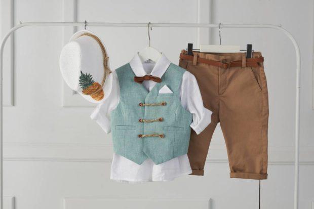 Βαπτιστικό Ρούχο Για Αγόρι και καπέλο με σχέδιο ανανά
