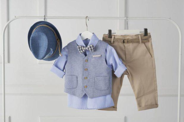Βαπτιστικό Ρούχο Για Αγόρι με κουστούμι, καπέλο μπλε-καφέ