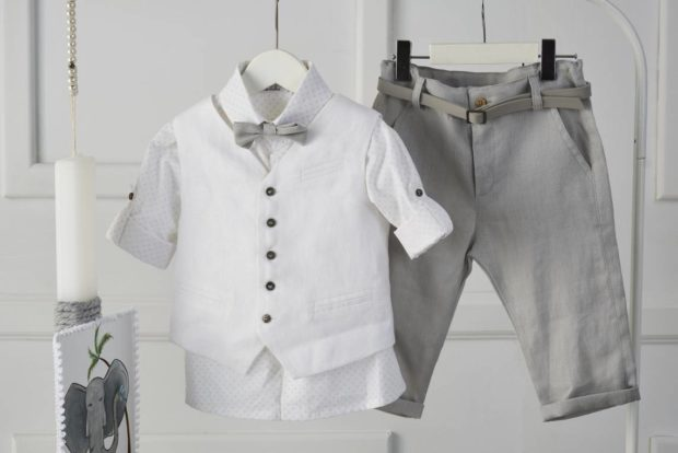 Βαπτιστικό Ρούχο Για Αγόρι με κουτί, λαμπάδα, κουστούμι με σχέδιο ελέφαντα