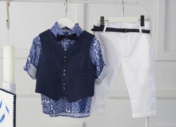 Βαπτιστικό Ρούχο Για Αγόρι με κουτί και λαμπάδα με σχέδιο φτερά