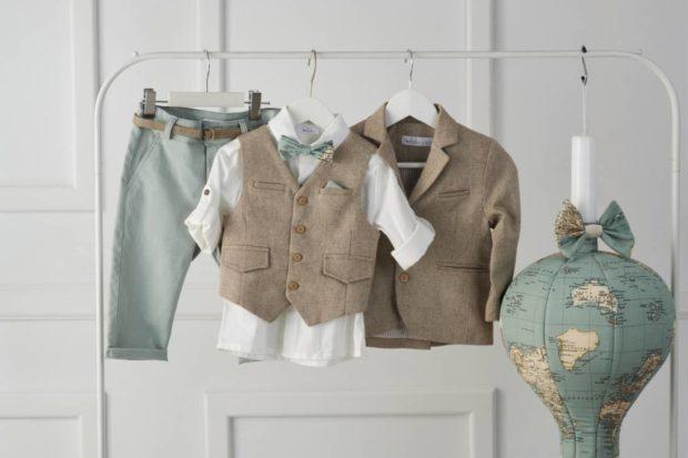 Βαπτιστικό Ρούχο Για Αγόρι με κουτί και λαμπάδα με σχέδιο χάρτης