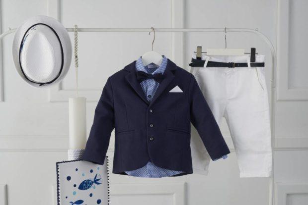 Βαπτιστικό Ρούχο Για Αγόρι με κουτί και λαμπάδα με σχέδιο ψάρια